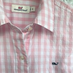 🐳 Vineyard Vines Pink Gingham Button Down Top 🐳